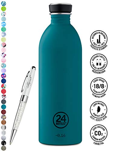24 Bottles Trinkflasche Urban 250 ml | 500 ml | 1000 ml versch. Farben inkl. Lieblingsmensch Kugelschreiber, Größe:1000 ml, Farbe:atlantic bay