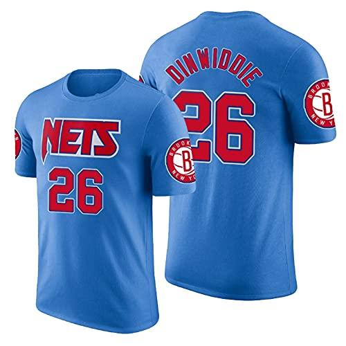 QJW Dinwiddie Baloncesto Mangas Cortas Jersey Nets # 26 Retro Casual Sports City Version Mess Shirt T-Shirt Adecuado para Entrenamiento de Pista y Campo (S-2XL) 6-XL