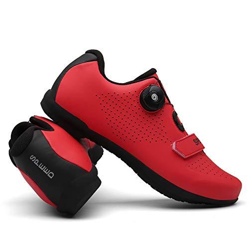 TAOXUE Zapatos de ciclismo sin cerradura para hombre ultraligero transpirable al aire libre ejercicio bicicleta bicicleta carretera zapatos no compatibles, rojo, 44