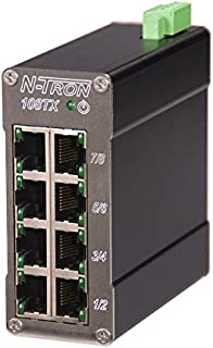 Red Lion Controls/N-Tron (108TX-MDR) 8 port 10/100BaseTX Industrial Ethernet Switch, Metal DIN Rail Connector, 10-30VDC