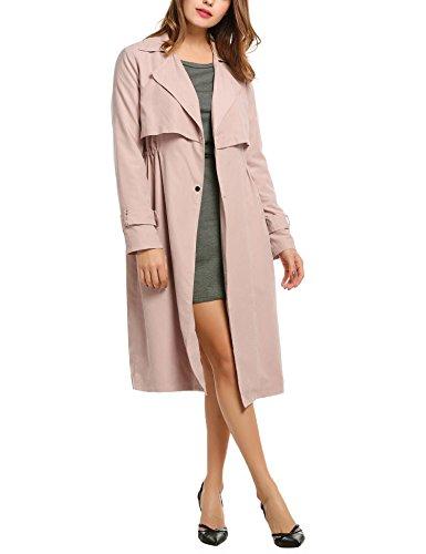 ACEVOG Damen Herbst Winter Mantel Drop-Schulter Trenchcoat mit Revers-Kragen Tunnelzug in der Taille Cardigan