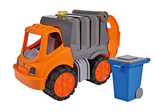 BIG - Power-Worker Müllwagen - Spielzeug Auto ideal für Unterwegs, Reifen aus Softmaterial, bewegliche Ladevorrichtung mit Ladefunktion, orange, blau, grau, für Kinder ab 2 Jahren