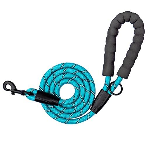 Dog Leash Comfortable - Reflective Threads - Padded Handle Dog Leashes Durable Climbing Dog Rope Leash Nylon Rope Dog for Large Medium Dogs