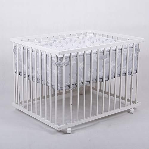 Laufgitter Babylaufgitter Laufstall 100x75cm Komplettset Babylaufstall 3-fach höhenverstellbar WEISS 53518W-D01
