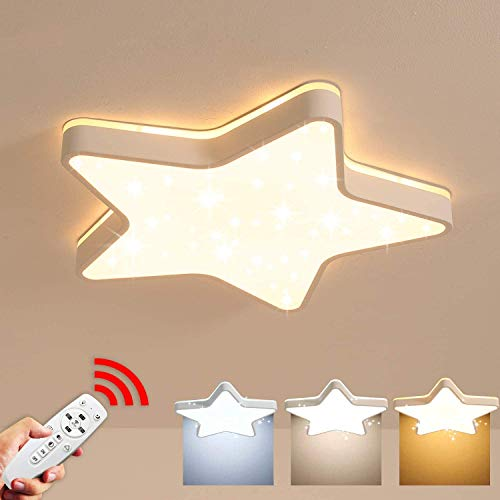 LED Kinderzimmerlampe Deckenleuchte Ultradünn Dimmbar Deckenlampe mit Fernbedienung Stern-Lichteffekt Schlafzimmerlampe Sternenhimmel Dekor Lampe Acryl Decke Licht für Kind Wohnzimmer, 36W, Ø45 cm