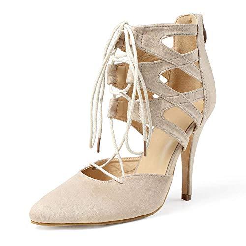 Moda Zapatos simples para mujer Tacones altos Boca baja Sandalias de gamuza sexy Tacones altos puntiagudos-albaricoque_6.5