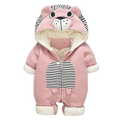 Livoral Baby Winterjacke Neugeborenes Baby Baby Boy Floral Rüschen Bär Jumpsuit Jumpsuit Jumpsuit Set(Rosa,6-12 Monate)