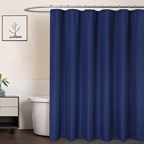 LinTimes Duschvorhang Blau, Hotel Luxury 190 GSM Thick Polyester Duschvorhang Shower Curtain, Dunkelblau, 180x180 cm (Verpackung MEHRWEG)