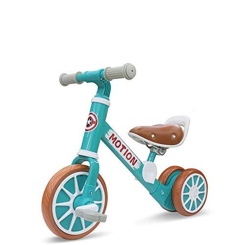 ZUOQUAN 2 in 1 Kinder Laufrad, Lauflernrad Balance Fahrrad Ohne Pedale Dreirad Spielzeug, Erstes Baby Laufrad Für Jungen Mädchen, Empfohlenes Alter: 12-48 Monate, Lauflernrad 4 Rädern,Grün