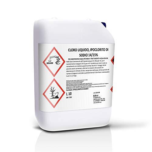Cloro líquido, hipoclorito de sodio 14/15% para desinfección de agua potable y tratamiento de agua de piscina, tanque de 10 LT