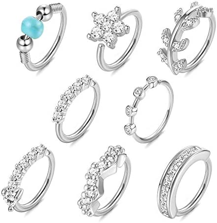 Drperfect 8 Pcs 20G Nose Ring Hoop for Women Stainless Steel Paved CZ Cartilage Earrings Nose product image