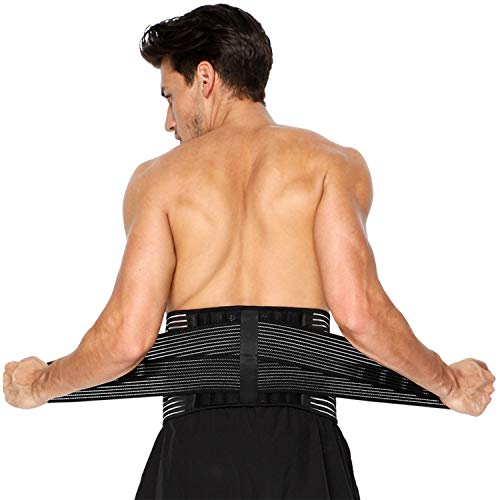 Faja Lumbar para Hombre y Mujer, Lumbar para la Espalda para Aliviar el Dolor de la Parte Baja de la Espalda - Cinturon Lumbar con Resortes de Refuerzo y Correas Dobles de Ajuste (M - 71 a 96cm)