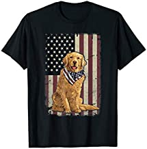 Golden Retriever American Flag Bandana 4th Of July Tshirt T-Shirt