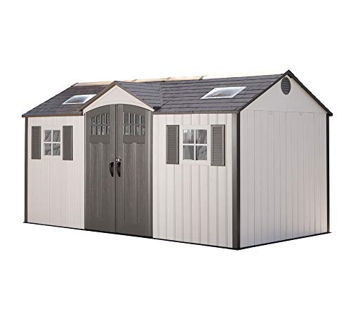 Lifetime Plastic Tool Shed, Garden Shed Castle, 457 x 244 x 244 cm, Light Grey, Including Windows