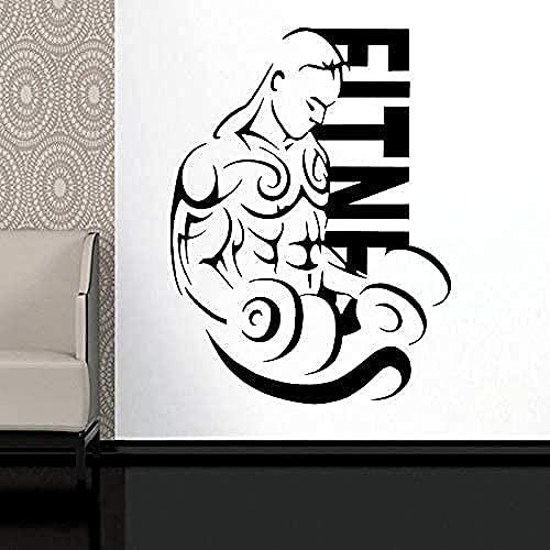 Pegatina de pared para coche, pegatina para gimnasio, póster con mancuernas, pegatina de vinilo para pared, pintura decorativa, pegatina para gimnasio, 57X77Cm