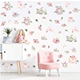 TOARTi Watercolor Pink Flowers Wall Decal, Blooming Peony Floral Flowers Sticker for Girls Bedroom Wedding Party Decoration (56pcs Colorful Flowers)