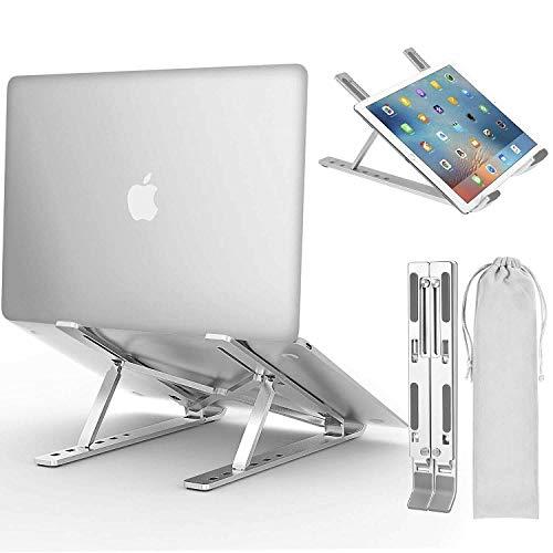 Soporte para ordenador portátil, altura ajustable, ergonómico, con ventilación, compatible con portátiles de 15,6 pulgadas o más pequeños, color plateado