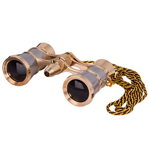 Levenhuk Broadway 325F Opera Glasses (Silver Theater Binoculars with LED Light and Chain)