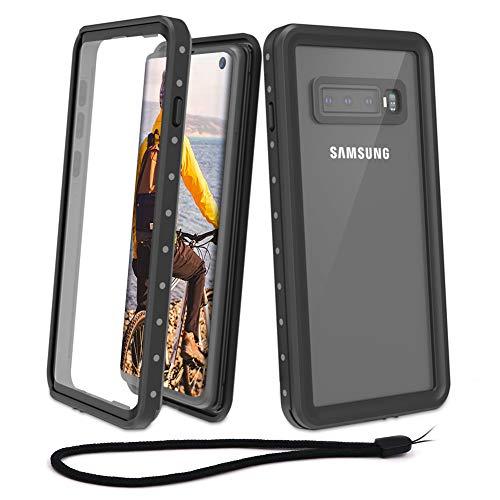 Beeasy Samsung Galaxy S10 Hülle,IP68 Zertifiziert Wasserdicht 360 Grad Schutzhülle,Stoßfest Outdoor Handy Case Militärstandard mit Displayschutz Robust Schutz vor Stürzen Stößen Handyhülle,Schwarz