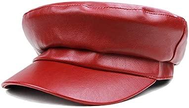 WETOO Women Newsboy Hat Cap for Ladies Visor Beret Hat Flat Top Womens Caps Red