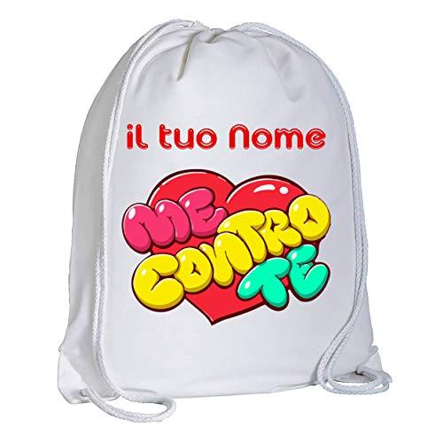 Zaino Sacca Me Contro Te Cuore Personalizzata con Il Tuo Nome - Zaino a Tracolla - capacità (circa 13 litri) Stampa Brillante e Resistente Idea Regalo Bimbo Bimba Compleanno