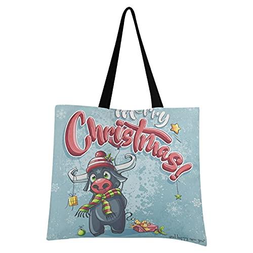 LDIYEU Cartel De Feliz Navidad Toro Bolsa Compra Reutilizables Bolsas de Mano...