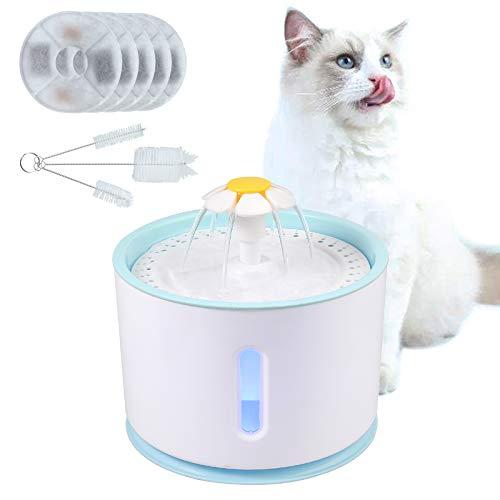 CAMWAY 2.4L USB LED Resina PP antibacteriana Fuente de agua eléctrica automática Dispensador de bebida para mascotas gatos / perros Cepillo de limpieza Filtro de carbón activado y resina