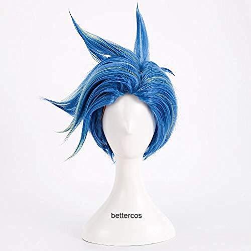 PROMARE Burning Rescue Galo Thymos Cosplay peluca corta recta azul resistente al calor peluca de pelo sinttico + gorro de peluca