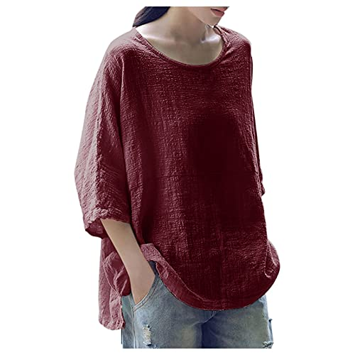JKRTR - Camiseta de manga para mujer, cuello redondo, algodón, mezcla de color liso Vino M