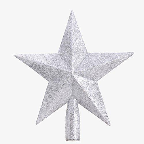 OULII Christbaumspitze Stern Verzierung Glitter Baum Stern Weihnachtsdekoration (Silber)