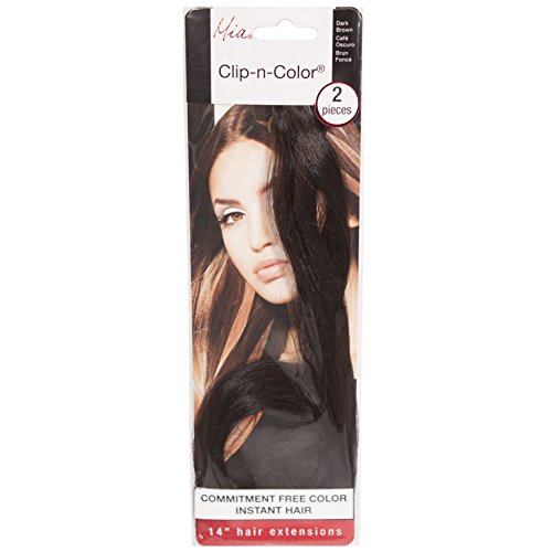 Mia Clip-n-Color, Synthetic Wig Hair Extensions, Clip On Hair Accessory, Instant Hair, Length, & Volume, 14 Inches Long, Dark Brown, For Women and Girls 2pcs
