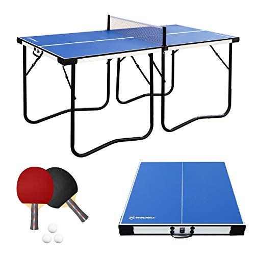 WIN.MAX Tischtennisplatte Midsize, 5.5FT Klappbare Tischtennistisch mit Netz, TT-Platte für Indoor & Outdoor (Blau)