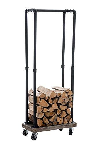 CLP Metall Kaminholz-Ständer Forks, Kaminholzregal mit Rollen, ca. 60 x 30 cm, Höhe ca. 150 cm, Farbe:schwarz
