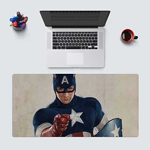 CSQHCZS-SBD Marvel DC muismat, groot, dik Hemming Iron Man Fulian Captain America Turks toetsenbord mat, uitbreidingsset kussens, zwart A+++
