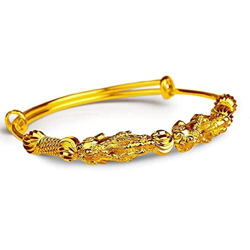 SHAOKAO Oro amarillo Pi Xiu encanto expandible alambre Lucky pulseras moda joyería pulseras joyería moda