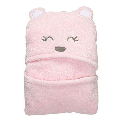 Vine Couverture de bébé ultra douce avec capuche et animal en peluche à la mode-Peignoir de bain à capuche pour bébé, à motif nounour ourson 92x72cm(rose)