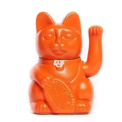 Gato de la Suerte chino. Lucky Cat. Maneki Neko. COLOR NARANJA 10x6x15cm