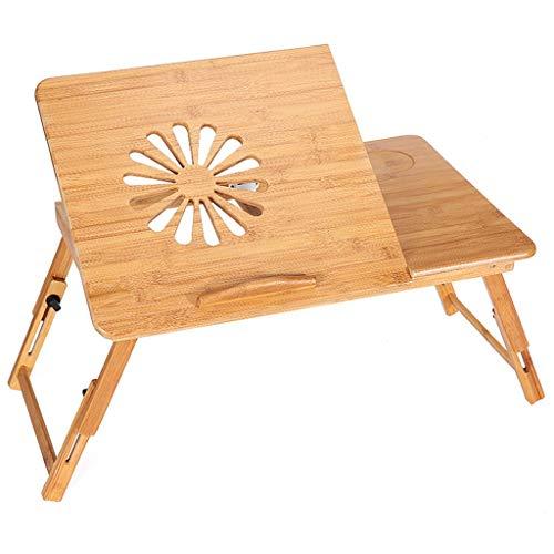 WERTYG Lapdesks - Mesa de escritorio ajustable para ordenador portátil, 100% bambú con ventilador plegable para servir desayuno, bandeja con cajón (tamaño: L)