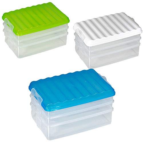 SIDCO Vorratsdose Aufschnitt Box Aufschnittdose Stapel Dose Stapelbox m. 3 Abteilungen