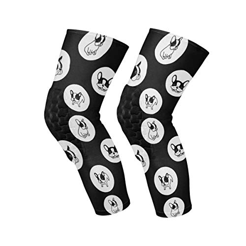 Knee Brace French Bulldog Wave Point Knee Compression Sleeve Support Shin Pads for Running Sports,Sold as Pair