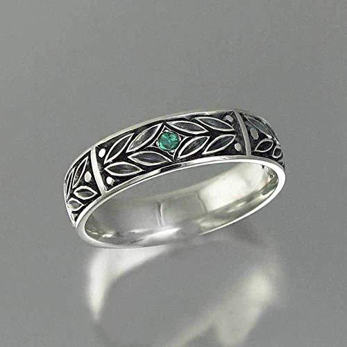 FZH Ring Damen Antik versilbert Herrenring Mode Persönlichkeit Unisex Antik Silberring 6