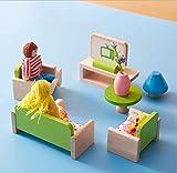 LAARNT Jeux d'imitation de Salon,Maison de poupée en Bois,Jouet Miniatures en Meuble pour DIY Dollhouse,Salon et Trois poupées,pour Garçons Filles Adults