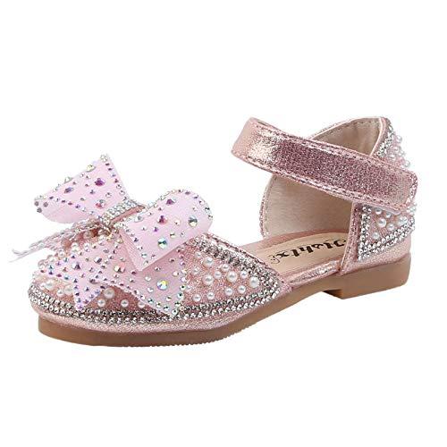 Ghemdilmn Zapatos de cristal para niña con lazo, brillantes, sandalias para fiestas, con cristales brillantes, zapatos de baile para verano, cómodos y transpirables. rosa 24