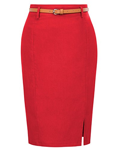 Women's Vintage Formal Office Bodycon Pencil Skirt Size XL Red