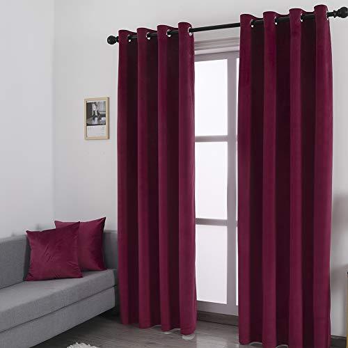 WdFour Superweicher Luxus-Samt-Vorhang mit 2 Kissenbezügen, energieeffizienter Ösen-Vorhang Fenstervorhänge für Wohnzimmer, 52 B x 63 L, 2 Paneele, Weinrot