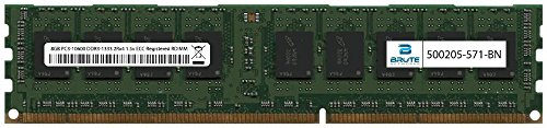 Brute Networks 500205-571-BN - 8GB PC3-10600 DDR3-1333Mhz 2Rx4 1.5v ECC Registered RDIMM (Equivalent to OEM PN # 500205-571)