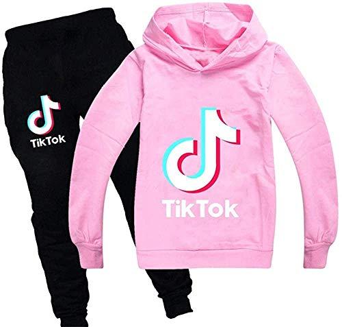 Tik TOK Baumwolle Kinderkleidung Jungen und Mädchen Sweatshirt und Hose Unisex Hoodie Kinder Kleidung Set Neuheit Bedruckter Pullover (Rosa,150)