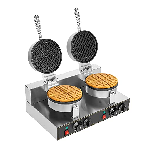 Commercial Belgian Waffle Maker Double Round Thin Waffles Iron Nonstick Electric 110V Muffin Machine Suitable for Restaurant Snack Bar Restaurant Home Family