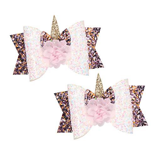Beaupretty 2pcs filles cheveux mignon clips arcs épingles à chignons mignon double couche sequin barette belle Couvre-chef fleur rose