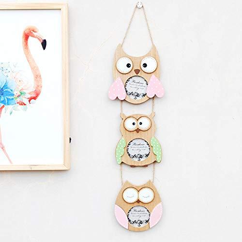 Cadres photos Cadres photo hibou des animaux en bois massif triple cadre photo décoratif décoration murale ciel